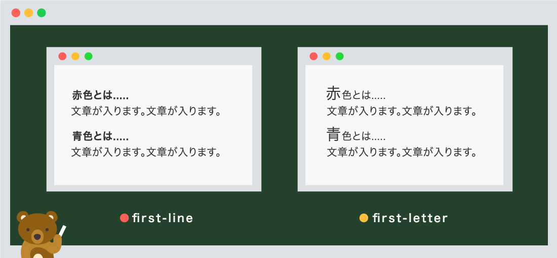 first-line、first-letter使用例